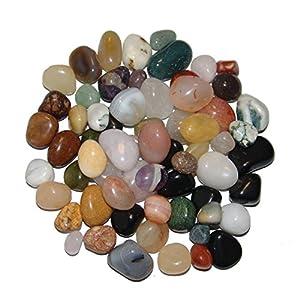 Natur Trommelstein Mischung 1 kg ca. 200 – 250 Steine ca. 10 – 30 mm mit Bergkristall, Rosenquarz, Moosachat, Natur Achate, Jaspis u.a.(4955)