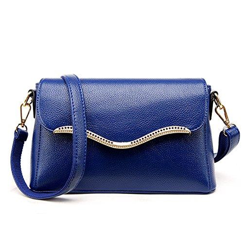 Mefly Singolo Diagonale Borsa A Tracolla Borsetta In Pelle Grigio Luce blue