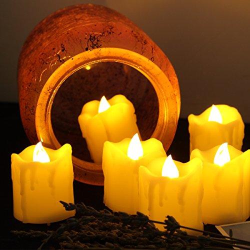 Velas LED Erosway, velas eléctricas realistas, brillantes y parpadeantes con pilas, 200 horas de funcionamiento sin interrupción con temporizador de 2/4/6/8 horas y control remoto de 10 teclas, juego de 6 velas LED goteantes en color crema para bodas, Navidad y fiestas