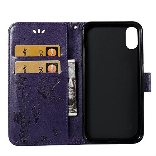 Doppeltes geformtes Blumenblumen PU-lederner Mappen-Beutel-Kasten, Flipstand-schützender Fall mit innerer TPU rückseitige Abdeckung mit Lanyard u. Kickstanfd für iPhone X ( Color : Rose ) Purple