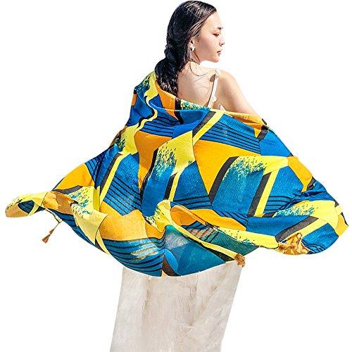 Yfzyt stile elegante vintage con motivi geometrici donne lungo moda morbida sciarpa dell'involucro signore sunscreen voile sciarpa sheer per abiti da sera, matrimoni, feste, spiaggia