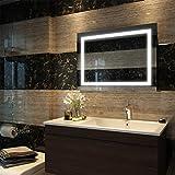 Duschdeluxe Badspiegel Lichtspiegel 80 x 60 cm LED Spiegel Wandspiegel mit Beleuchtung kaltweiß...