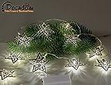 Lichterkette mit silbernen Sternen & LED-Licht | Batterie Weihnachtsdeko