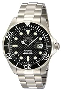Invicta Men's Pro Diver Quartz Watch with Black Dial Chronograph Display and Silver Stainless Steel Bracelet 12562