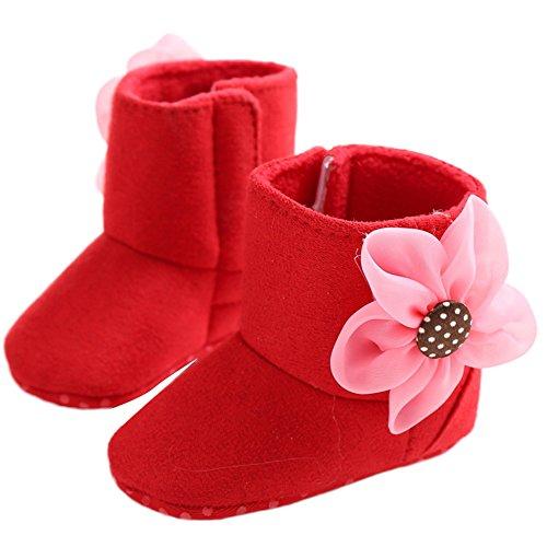 WAYLONGPLUS Baby Kleinkind-Mädchen Prewalker Schuhe Baumwolle Anti-Rutsch weiche Stiefel Rot umNIz