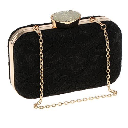 Sharplace Spitze Damen Tasche Handtasche Party Clutch Bag Hochzeit Abend Umhängetaschen - Aprikose, 19 x 9 x 5 cm Schwarz