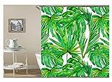 Daesar Badvorhang Anti-Schimmel 120x180 Bananenblatt Badezimmer Duschvorhang aus Polyester-Stoff