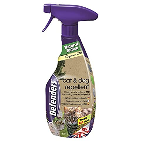 Defenders Cat and Dog Repellent Spray Humane Treatment, Deters Cats and Dogs from Digging Scratching & Fouling Garden, Lawn & Patio Areas, Covers up to 225 Square m, 750
