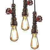 Metall Vintage Retro Industrial Eisen Fabriklampe Rohr DIY Deckenlampen Pendelleuchte Hängeleuchte Edisonlampe Lampe Leuchte Loft E27 (Ohne Birne),Bronze
