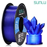 SUNLU Transparent PLA Filament 1.75 mm 3D Printer Filament, 1kg Spool 3D Printing Filament, Dimensional Accuracy +/- 0.02 mm for 3D Printer and 3D Pen (Transparent Blue)