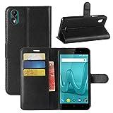 HualuBro Wiko Lenny 4 Plus Hülle, Premium PU Leder Leather Wallet Handyhülle Tasche Schutzhülle Case Flip Cover mit Karten Slot für Wiko Lenny 4 Plus Smartphone (Schwarz)