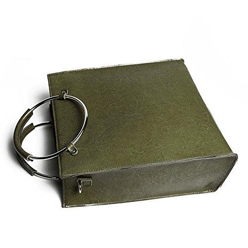 Leathario Borsa donna pelle vera tracolla verde spalla a mano eleganti lavoro vintage cuoio fashion borsone sacca shopping weekend nero