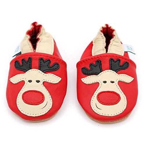 Dotty Fish Leder Babyschuhe - rutschfest Wildledersohle – chromfrei weiche Lederschuhe - Baby Jungen und Mädchen - rot Rentier Weihnachten Rot