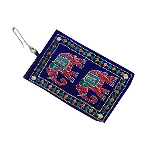 Kuber Industries™ Designer Embroided Mobile-Phone Pouch Cover With Purse Pocket And Sari Hook For Women (Blue) - BG73