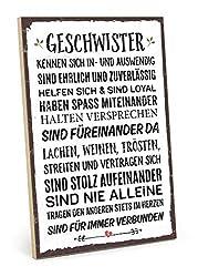 TypeStoff Holzschild mit Spruch - Geschwister - im Vintage-Look mit Zitat als Geschenk und Dekoration zum Thema Bruder und Schwester (19,5 x 28,2 cm)