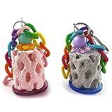 Hearsbeauty 1 Piece Calcium Teeth Grinding Chew Toy Cage Platform Perch for Parrot Hamster Gerbil - Random Color