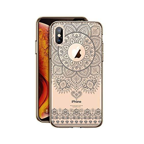 HULI Design Case Hülle für Apple iPhone X/XS Smartphone im Orientalischen Muster Graphit - Schutzhülle mit orientalischem Mandala Sonnenmuster Henna Ornament Traumfänger - Handyhülle durchsichtig