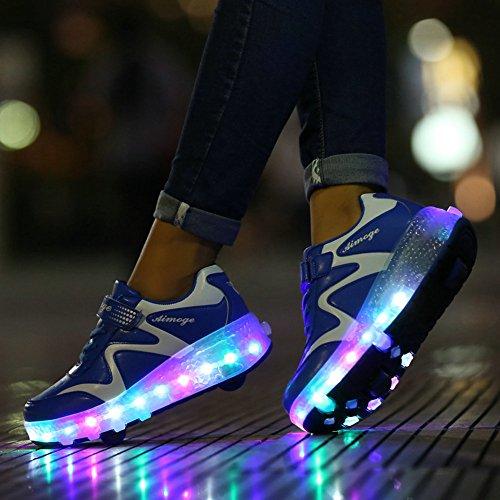 Unisex Schuhe mit Roller Skate ein Rad Schuhe Skateboard Boys Mädchen Erwachsene Led Lights Sports Sneaker Blue(Two wheels)