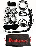 BONDAGERIE® Set Bondage BDSM Zebrato in Ecopelle, con Manette collare corda frustino gag ball (7 Pezzi + Sacco in raso)