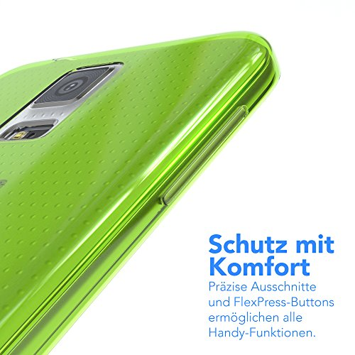 """EAZY CASE Handyhülle für Samsung Galaxy S5 / S5 LTE+ / S5 Duos / S5 Neo Hülle - Premium Handy Schutzhülle Slimcover """"Brushed"""" Aluminium Design - Silikon Backcover in brushed Weiß Clear Grün"""