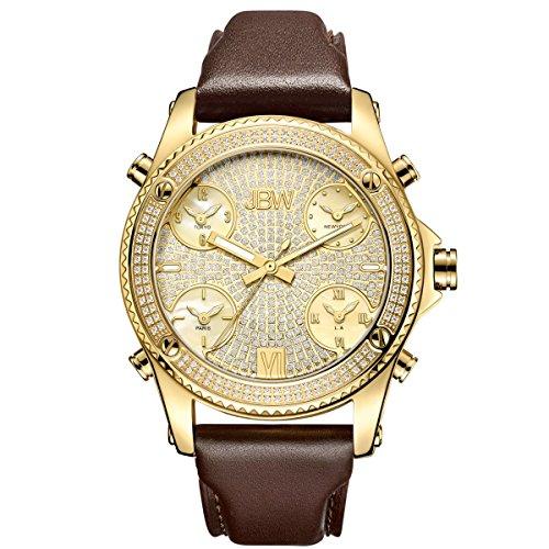 Jbw orologio da uomo Genuine Diamond–jet Setter oro/marrone