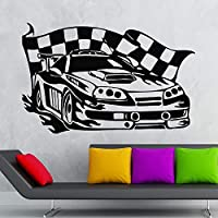 wangpdp Wall Sticker Vinyl Decal Sports Racing Car Race Rally Racer Garage Decor 36x57cm