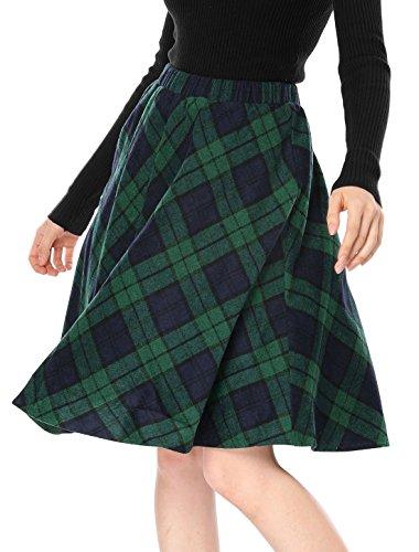 Allegra K Damen Plaidmuster Elastische Taille Knie Länge Kammgarn A Linie Rock, Green XL (EU 48) (Rock Grün-knie-länge)