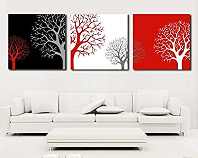 XM Art-Black-White-Red Branch 3 Pieces Canvas Prints Paintings Abstract Tree Painting of Art Wall Canvas Artwork,Framed,Ready to Hang 50*50cm