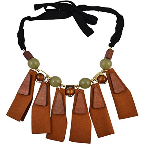 ELECTROPRIME® Boho Women Exaggerated Round Beads Leather Choker Chunky Statement Necklace