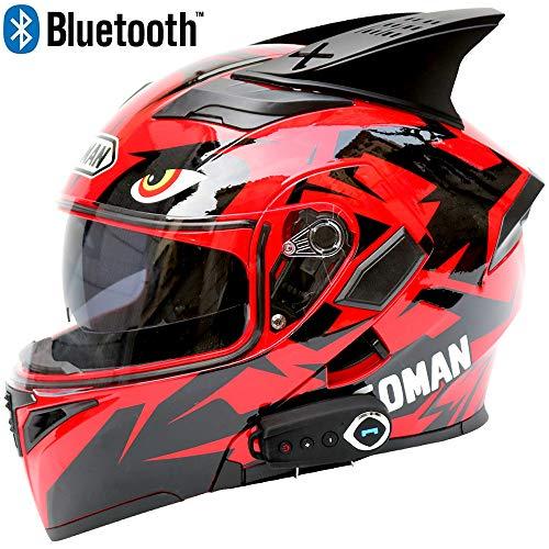 Leaf&Y Motorrad Bluetooth Crash Modular Helm, Automatische Antwort/FM/Musik/GPS Navigation Voice, Off Road Motorrad Integralhelm für Vier Jahreszeiten,M