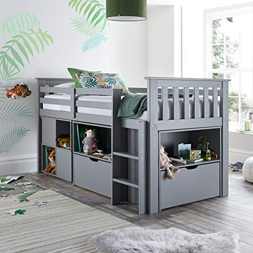 Happy Beds Milo Grey Wooden Mid Sleeper Kids Bunk Bed Frame 3' Single 90 x 190 cm