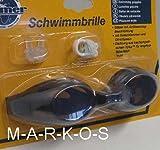 Antibeschlag Schwimmbrille im SET, mit Nasenklammer, Ohrenstöpsel, Taucherbrille / Schwimm Brille schwarz (LHS)