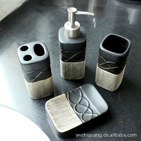 QUEEN'S Style de mode Couleurs fruité combinaison Four-Piece conviennent à l'encre de bain en céramique noir 2403-A,salle de bain,Kit d'accessoires de bain d'ensemble