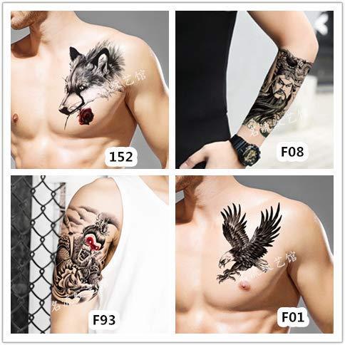 Tattoo Sticker Wasserdicht Langlebig Männliche Blume Arm Über Schulter Drachen Wolf Kopf Narbe Simulation Arm Brust Tattoo
