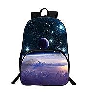 Sac à dos Sac de Loisirs Unisexe Sacs Bandoulière Galaxy 3D Peinture Textile Sacs à Dos Voyage a étudiant Bleu planète