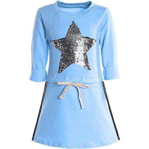 BEZLIT Mädchen Kleider Spitze Wende-Pailletten Fest Langarm Kleid 21041 Hellblau Größe 116