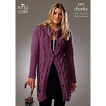4b57b603f King Cole Ladies Cardigan   Sweater Chunky Knitting Pattern 3437 ...