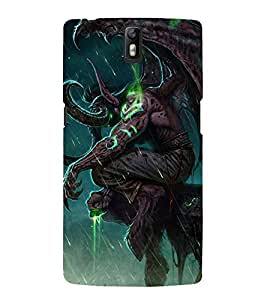 Fuson Premium Back Case Cover Animated Devil With Blue Background Degined For One Plus One::One Plus1