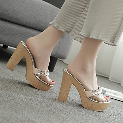 Oasap Women's Slip on Block Heels Platform Rhinestone Sandals apricot