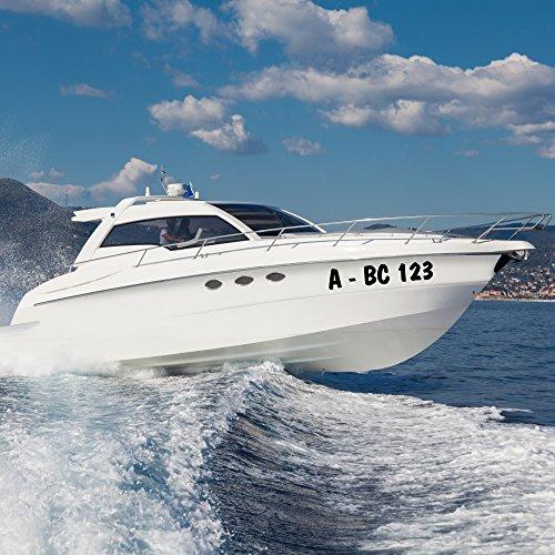 malango® Bootsaufkleber Bootskennzeichen 2 Stück Bootsnummer Aufkleber Kennzeichnung Nummer Bootsname ca. 10 cm Höhe weiß