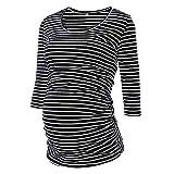 Amphia - Gestreifte Oberseite der schwangeren FrauFrauen Streifen 3/4 Ärmel O Neck Mutterschaft Tops Schwangerschaft Bluse T-Shirt - (Schwarz,L)