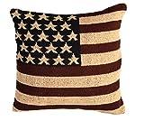 Homescapes USA Kissen Bezug 45 x 45 cm Kissenhülle Stars & Stripes Flagge USA Deko Kissenbezug 100% Baumwolle grob gewebt