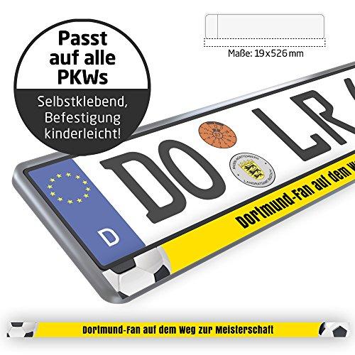 Dortmund-Fan auf dem Weg zur Meisterschaft Design-Kennzeichenschild für Dortmund-Fans | Premium-Nummernschild für Dein Auto | 2 STK. Passt auf alle Kennzeichenhalter