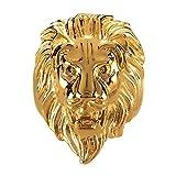 BOBIJOO Jewelry - Bague Chevalière Homme Tête de Lion Gipsy Gitan Forain Acier Plaqué Or Argenté - 73 (14 US), Doré Or Fin - Acier Inoxydable 316