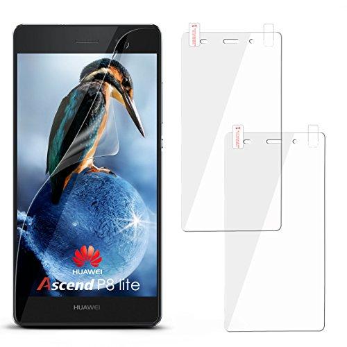 moex 2X Huawei P8 Lite 2016 | Schutzfolie Klar Display Schutz [Crystal-Clear] Screen Protector Bildschirm Handy-Folie Dünn Displayschutz-Folie für Huawei P8 Lite 2016 Displayfolie