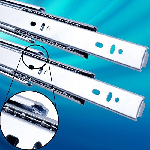 Schubladenschienen 2 STÜCK VOLLAUSZUG Rollenauszug Teleskopschiene Schubladenauszug H: 45 / L: 600 mm | Tragkraft 45 kg/Paar |Kugellager mit Stahlkäfig|