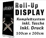 Roll up Display 100x200cm Banner Displays Werbedisplay Ständer mit Klemmleiste Aufsteller Werbebanner Reklame 12A07, Roll up Größe:100cmx200cm