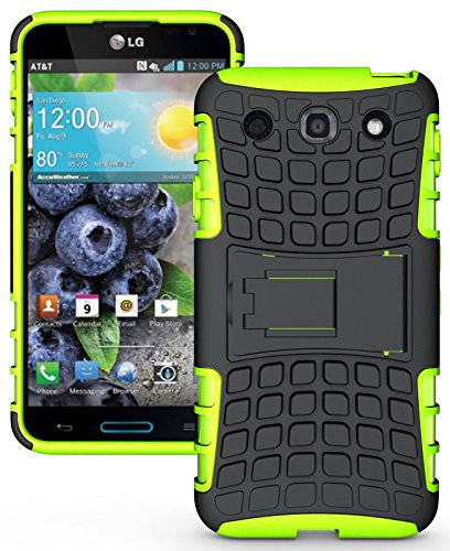 Heartly Flip Kick Stand Hard Dual Armor Hybrid Rugged Bumper Back Case Cover For LG Optimus G Pro F240 E985 E988 - Green  available at amazon for Rs.319