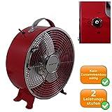 toller Retro Bodenventilator Ventilator Lüfter für Tisch oder Boden 26cm 25W - rot