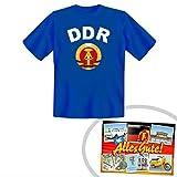 Tshirt DDR blau | INKL DDR Geschenkkarte | Ostalgie | Ideal für jedes DDR Geschenkset | Ostprodukte